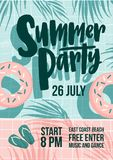 Summer party invitation, flyer or poster template with inscription written against shadows of palm tree foliage, donuts. And flip flops on background. Vector Stock Image