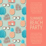 Summer party invitation. Tropical palm leaves, cute pineapple. Sunglasses and retro photo camera. Paper cut style, pastel colors Royalty Free Stock Photos