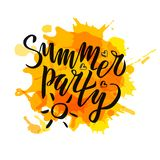 Summer party lettering Gradient Handwritten calligraphy, brush painted letters on blot background. Inspirational text in vector vector illustration