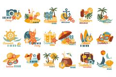 Summer party logo template set, beach holiday, summer vacation vector Illustrations on a white background Stock Photos