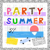 Summer party in memphis style postcard invitation. Summer party, in memphis style, postcard, invitation, abstract letters, with palm trees, beach, 80s vector illustration