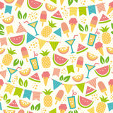 Summer party pattern. Seamless pattern for summer with ice creams and fruit Royalty Free Stock Photos