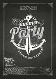 Summer party poster. Chalk drawings. Summer party poster. Disco background. Chalk drawings vector illustration