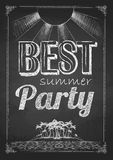 Summer party poster. Chalk drawings. Summer party poster. Disco background. Chalk drawings royalty free illustration