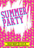 Summer party poster design layout neon color Stock Photos
