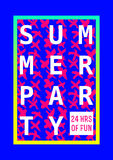 Summer party poster design layout neon color Royalty Free Stock Photography