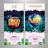 Summer party poster design on neon background. Disco party invitation. Vector illustration stock illustration