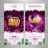 Summer party poster design on neon background. Disco party invitation. Vector illustration vector illustration