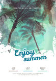 Summer party poster or flyer design template with palm trees silhouettes. Modern style Stock Photos