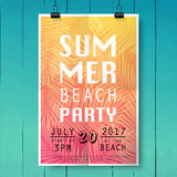 Summer party poster with palm leaf and lettering on wood texture royalty free illustration
