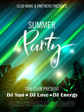 Summer party poster with palm leaf, light effect and lettering. Vector illustration EPS10 Stock Images