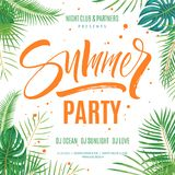 Summer party poster template. Hand written lettering with exotic palm leaves and plants background. Brush painted letters, modern calligraphy, vector Royalty Free Stock Images