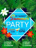 Summer party poster Tropical background with text. Pool party design. Tropic flowers, exotic leaves, swimming pool vector illustration