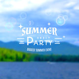 Summer party realistic badge. EPS10. Summer party realistic badge, creating a soft background of the sea, forest, sky Royalty Free Stock Images