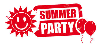 Summer party red stamp Royalty Free Stock Photography