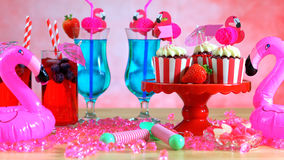 Summer party table with pink flamingo theme Stock Image