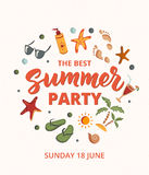 Summer Party text with beach elements. Sunscreen, sunglasses, cockail Royalty Free Stock Images