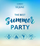 Summer party text, typography with brush lettering. Beach party poster concept. Stock Images