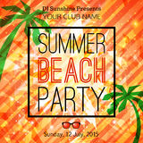 Summer party typographical shining template poster Stock Photo