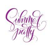 Summer party typography on white isolated background. Modern pen calligraphy. Vector template for banner, poster, flyer royalty free illustration