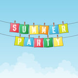 Summer Party. Vector illustration of summer party text word on papers hanging on ropes on bright day Royalty Free Stock Photography