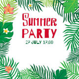 Summer party. Vector poster leaves of palm trees and tropical flowers Stock Photos