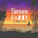 Summer party. Vector poster leaves of palm trees and tropical flowers on a background of the sea shore during the sunset over the Stock Images