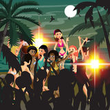 Summer party. Young women in bikini dancing at a disco on the be. Ach at night. DJ and his equipment, dance music. Vector flat cartoon illustration Stock Images