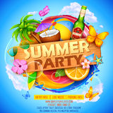 Summer Partyl poster design Royalty Free Stock Image