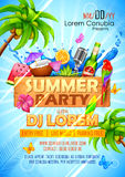 Summer Partyl poster design Royalty Free Stock Images