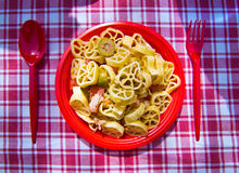 Summer pasta with tomato, tuna, oregano and olives Stock Images