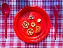 Summer pasta with tomato, tuna, oregano and olives Royalty Free Stock Photos