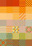 Summer patchwork pattern. Multicolor square patches. With different geometric ornaments royalty free illustration