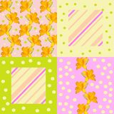 Summer patchwork pattern with stripes, dots and beautiful flowers.  vector illustration