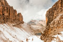 Path to Sella Ronda Dolomites Italy Royalty Free Stock Photography