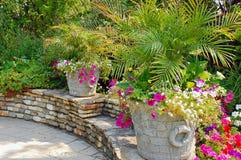 Summer patio garden Stock Photo