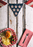 Summer: Patriotic Summertime Cookout Background With Burger Royalty Free Stock Image