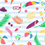 Summer pattern with beach objects and accessories Royalty Free Stock Photography
