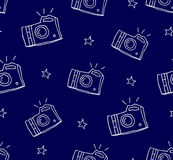 Summer pattern with camera and stars. Ornament for textile and wrapping. Vector background.  Stock Photo
