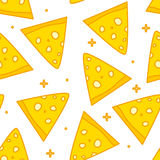 Summer pattern with cartoon pieces of cheese. Thin line flat design. Background with fun food Royalty Free Stock Image