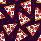 Summer pattern with cartoon pieces of pizza on black background. Thin line flat design. Fast food.  vector illustration