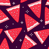 Summer pattern with cartoon strawberry on black background. Thin line flat design. Vector Stock Photo