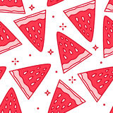 Summer pattern with cartoon strawberry. Thin line flat design. Background with fun food.  Royalty Free Stock Images