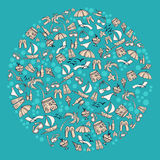 Summer Pattern. Circular pattern with summer associations Royalty Free Stock Images