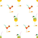 Summer pattern with cocktails Royalty Free Stock Photo