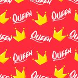 Summer pattern with crown and text on red background. Ornament for textile and wrapping. Vector.  vector illustration