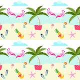 Summer pattern design with cute flamingos, beach, sea, fruits, ice cream and holiday symbols. Pastel color summer pattern royalty free illustration