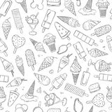 Summer pattern with different kind ice cream in hand draw style. Stock Photo