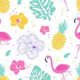 Summer pattern with flamingos and pineapple Stock Photography