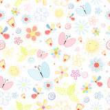Summer pattern of flowers and butterflies Royalty Free Stock Images